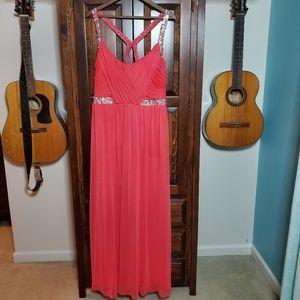 Deb Melon Colored Formal Rhinestone Gown Size 20